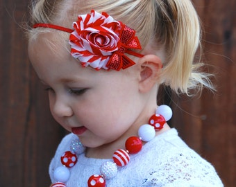 Christmas Headband, Baby Headband, Christmas baby, red and white, candy cane, newborn headband, hard headband, hair bows, shabby chic