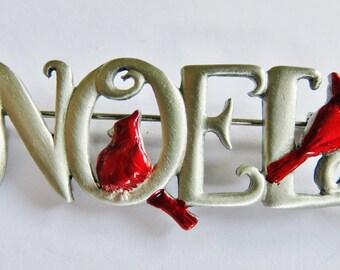 JJ Jonette Silver Pewter Christmas Noel Brooch Pin With Cardinal Birds
