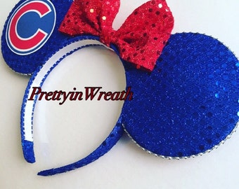 Chicago Cubs inspired Mickey Mouse ears headband