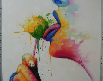 """Colorful face painting oil painting on canvas 40""""X40"""""""