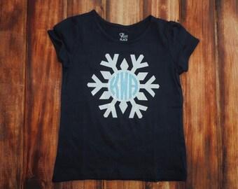 Monogram Snowflake Shirt, Monogram Winter Shirt, Winter Glitter Iron-On Applique, Child Snowflake shirt