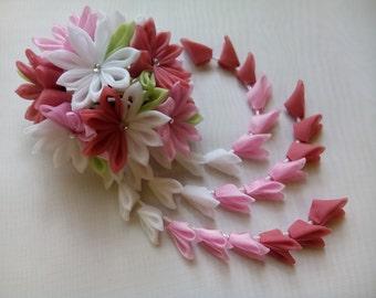 Kanzashi Fabric Flower hair clip with falls. Geishas hair piece. Japanese hair clip.
