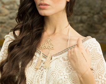 Statement Tatted Necklace//Bohemian Chic Necklace//