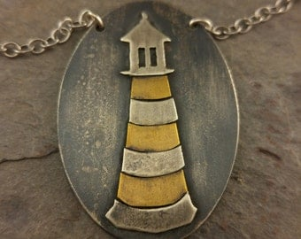 Sterling Silver and Brass Lighthouse Necklace