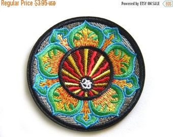 """SALE Embroidered Om Patch - Iron or Sew On Applique - 3"""" - Ohm Aum Chakra"""