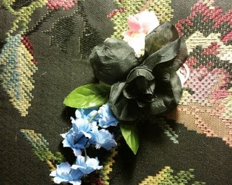Sweet Small Black Rose w/blue/pink flowers Hair Clip