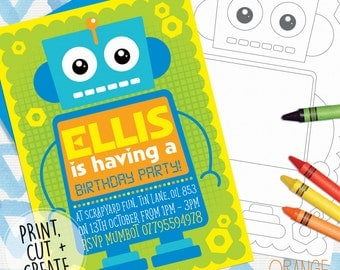 Printable Personalised ROBOT Childrens Girl Boy Birthday Party Invitations Stationary