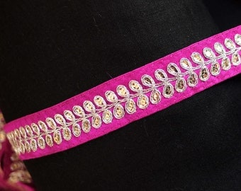 Art Silk hot pink ribbon with silver embriodery