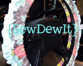 Steering Wheel Cover Gray Floral Light Aqua Blue Coral Yellow with Ruffle ~ Cute Gift for Her Car Accessory