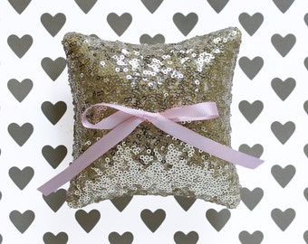 Mini Ring Bearer Pillow, Gold Sequin Mini Ring Pillow with Pink Bow, 4 x 4 in. or 6 x 6 in.
