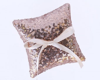 Mini Ring Bearer Pillow, Rose Gold Sequin Mini Pillow with Ivory Bow, 4 x 4 in. or 6 x 6 in.