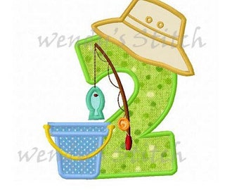 Gone fishing applique fish machine embroidery design instant download