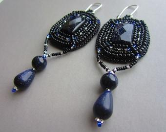 Blue Goldstone bead embroidered OOAK earrings, statement earrings, wearable art