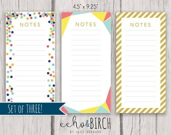 SET of THREE - PRINTABLE Notes Memo Sheets | Instant download! | Printable Stationery