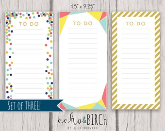 SET of THREE - PRINTABLE To Do List Sheets | Instant download! | Printable Stationery