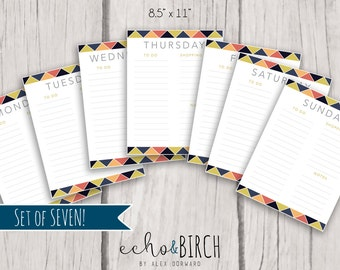 PRINTABLE Weekly To Do Lists (Set of SEVEN)   Instant Download!   Printable Stationery and Planner Supplies