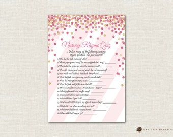 Pink and Gold Nursery Rhyme Quiz Baby Shower Game - Pink Glitter Nursery Rhyme Baby Shower Game, Printable Baby Shower Games, Printable, DIY