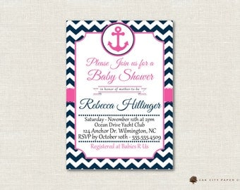 Pink and Navy Nautical Baby Shower Invitation - Nautical Baby Shower Invitation, Beach Baby Shower Invite, Nautical Baby Shower Invite - DIY
