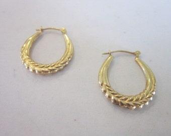 Vintage 14 K Yellow Gold Stylized Hoop Pierced Earrings