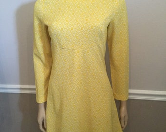 Cool long sleeve upcycled 60's / 70's mini dress / yellow / mad men/ small