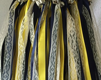 50 Wedding Wands/Wedding Ribbon Wands/Wedding Wand/Wedding Streamers/Navy, Yellow and Natural Lace