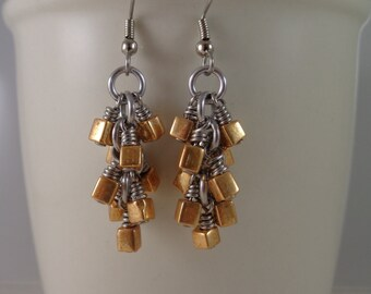 Mixed Metal Cluster Earrings, Silver and Gold Chainmail Earrings