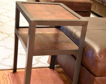 Wood and Metal Night Stand / End Table.