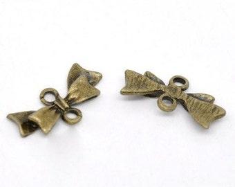 20 - Bronze Bow Tie Charm Connectors