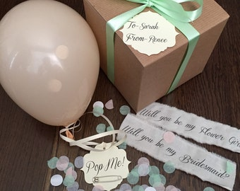 Blush- Will you be my bridesmaid? Pop the balloon to reveal your message