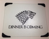 Dinner is coming glass cutting board