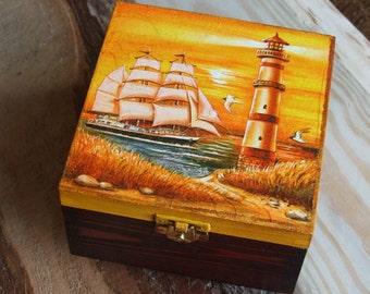 Wooden box,sea box,decoupaged box