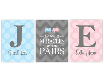 Personalized twins nursery decor with initials | twin boy and girl baby gift | chevron polka dots | gray pink blue nursery art