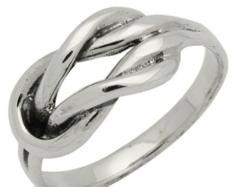 Solid .925 Sterling Silver Infinity Knot Ring size 6 7 8 9