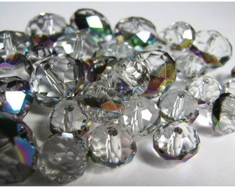 Faceted Glass Rondell Beads with AB Finish on rim in Large and Medium