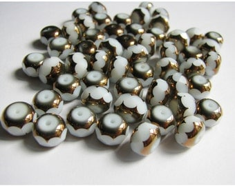 54 Faceted White Glass and Copper Beads
