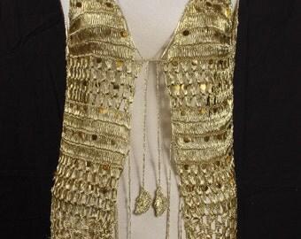 Vest, Gold Crochet, Retro, Sequins,