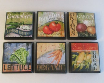 Vegetable Kitchen Room Wall Plaques - Set of 6  Veggies Room Decor - Vegetable Kitchen Bistro Restaurant Wall Plaque Set