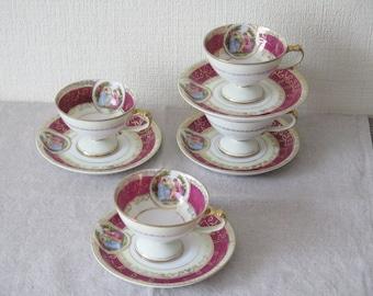 JAPAN Vintage Porcelain Romantic Victorian Couple Cameo Tea Cup and Saucer Demitasse Tea Cup, Fuscia Gold @ 118
