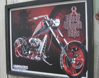 Wood Framed Tin Sign, American Chopper, Black Widow Bike, 17 1/4 by 13 1/2 inches., Free Shipping