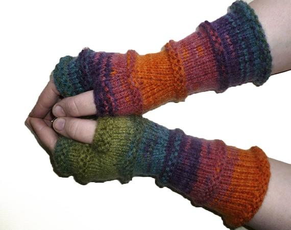 Knit Fingerless Gloves Arm Warmers Womens Fingerless Long-3476