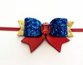Baby Girl Snow White Bow Headband, Snow White Halloween Costume, Snow White Bow, Snow white Glitter Hair Clip, Disney Princess hair Clip