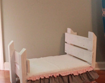 Set- Reclaimed Wood Prop Bed Heirloom White, w Grey/Baby Pink Bedskirt, Mattress Set