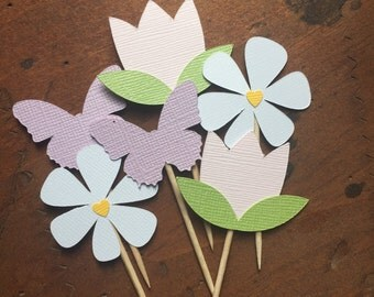 Spring Cupcake Toppers | 12 | Spring Wedding | Flower Cupcake Toppers | Butterfly Cupcake Topper | Spring Party Decor