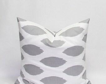 SALE Pillows Grey Pillows Gray Pillows Ikat Pillows 22 x 22 Inches Decorative Throw Pillow Covers Chipper Storm Grey/Gray