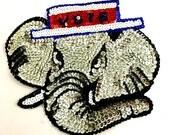 "Sale! 5 Pack Republican Elephant Appliqué with Vote Hate, Sequin Beaded, 8.5"" x 7""  -B025"