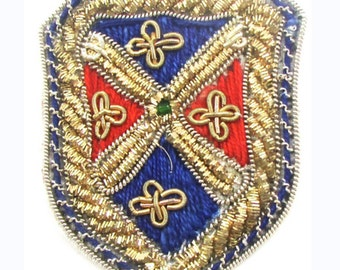 "Bullion Crest Patch with Blue/Red Green Bead, 2"" X 1.5""  - 4397-1241"