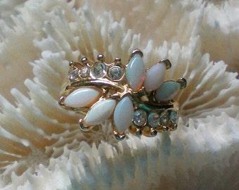 Opal Glass Rhinestone Ring – Size 5 - 4099