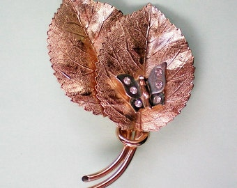Golden Leaves with Butterfly Pin - 4147
