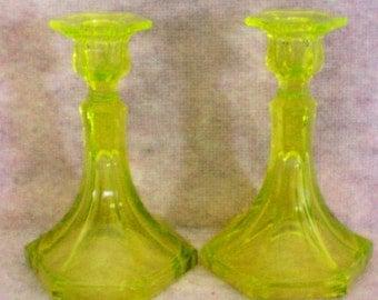 Vaseline Uranium Glass Candlesticks - 4174