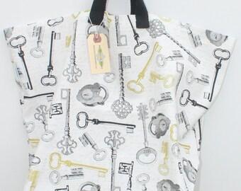 Canvas Bag: Antique Keys, washable